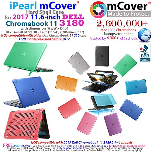 iPearl mCover Hard Shell Case for 2017 11.6 Dell Chromebook 11 3180 series Laptop (NOT compatible with 210-ACDU / 3120 / 3189 series) (Black)