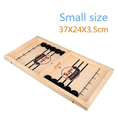GXLONG Table Desktop Battle 2 in 1 Ice Hockey Game, Fast Sling Puck Game Sports Board Game Winner Board Games Toys for Adults or Kids (Small): Toys & Games
