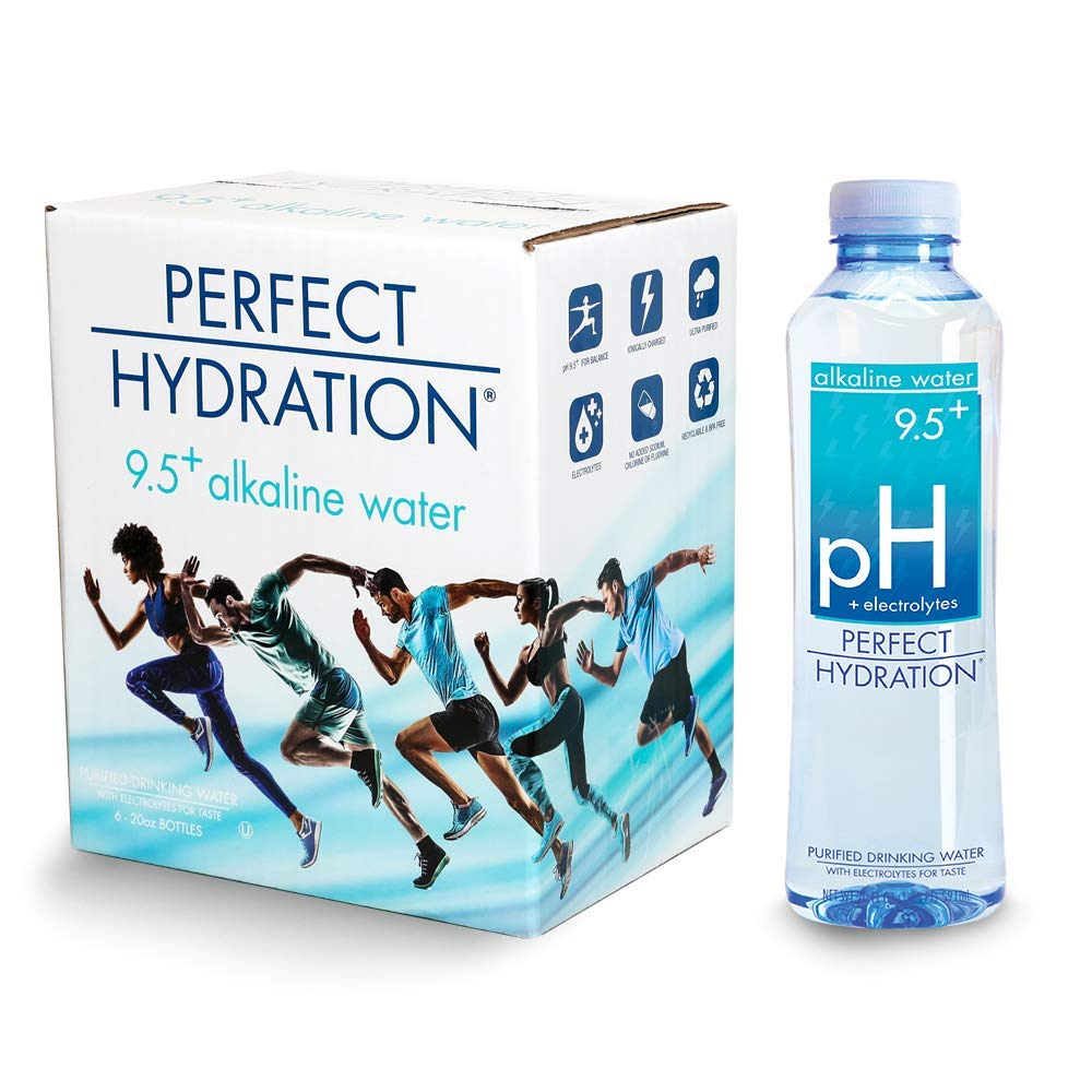 Perfect Hydration Alkaline Water, 9.5+ pH | Ultra Purified, Electrolyte Enhanced Drinking Water, 20 Fl. Oz (Pack of 6) by Perfect Hydration