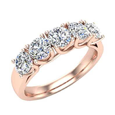 Wedding band Five Stone Diamond Ring Round Brilliant Cut w Trellis Setting  1.10 carat total fb8fd0a61915