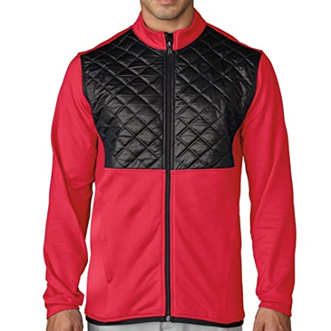 Amazon Com Adidas Mens Climaheat Prime Quilted Full Zip Jacket Red