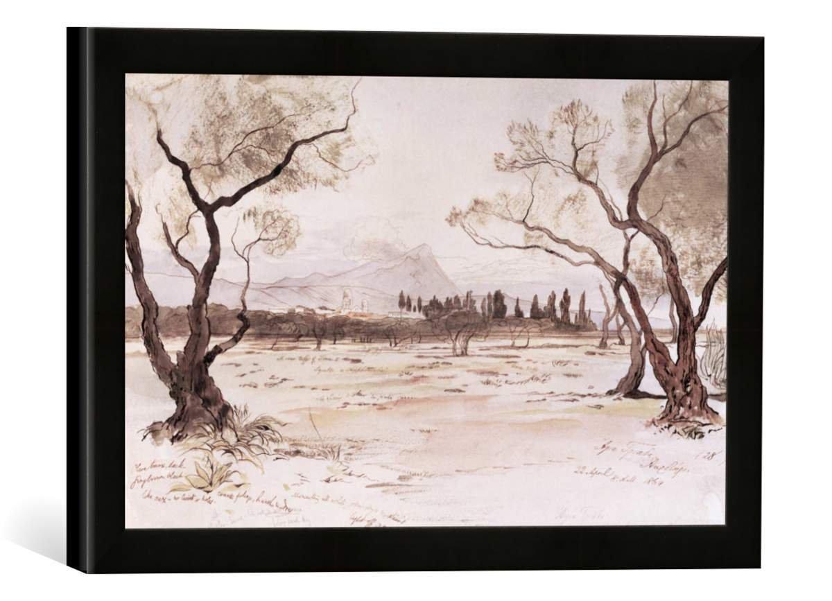 Gerahmtes Bild von Edward Lear Kreta, Kloster Agía Triáda/E.Lear, Kunstdruck im hochwertigen handgefertigten Bilder-Rahmen, 40x30 cm, Schwarz matt
