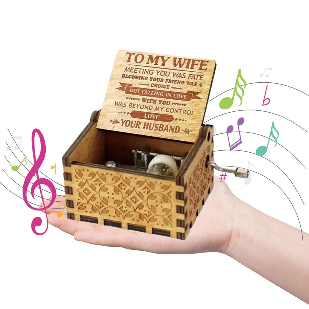 Macabolo Wooden Classic Music Box Vintage Hand Crank Music Box Antique Carved Wood Musical Toy TO MY Wife
