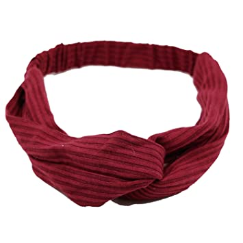 Woman Headband New Turban Solid Headbands Girls Makeup Fabric Elastic Hair Band Hair Accessories Headwrap,Wine Red