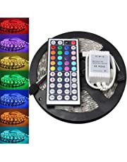 Lovicool LED Strip Lights RGB Kit, 5M (16.4ft) 300LEDs SMD 5050 Waterproof, USB LED Strip with 44-Key RF Controller and DC12V 5A Power Adapter