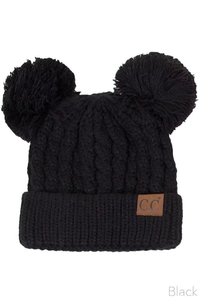 ScarvesMe CC Women Ribbed Knitted Double Pom Pom Beanie Hat (Black)
