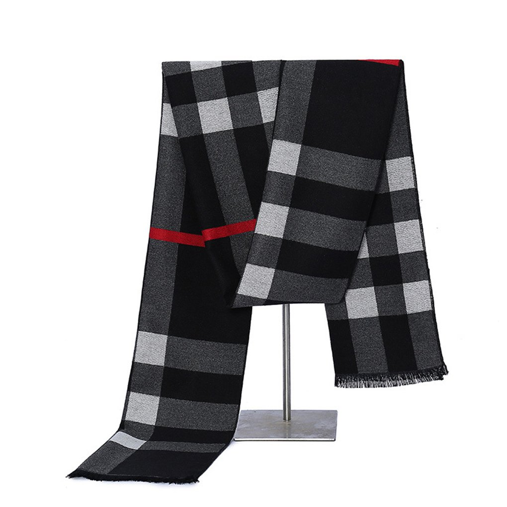 Designer Mens Scarf Cashmere Winter Mens Scarves Cashmere Feel Scarf Men Black Plaid Pattern