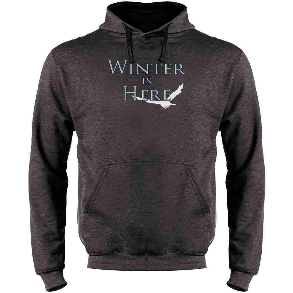 Pop Threads Winter is Here Mens Fleece Hoodie Sweatshirt