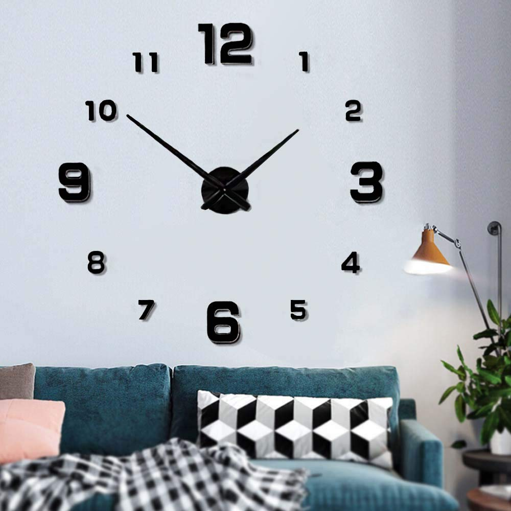 Modern Frameless DIY Wall Clock Large 3D Wall Watch Non Ticking for Living Room Bedroom Kitchen (Black-005) (2-Year Warranty)