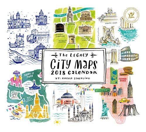 2018 12-Month Wall Calendar, City Maps