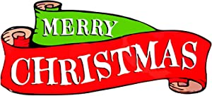 Red & Green Merry Christmas Banner Car Auto Magnet, 11 Inch