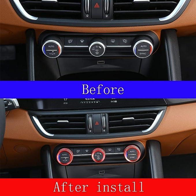 Yiwang 3 Farben Zink Legierung Auto Innenkonsole Klimaanlage Knöpfe Kreis Trim 3 Stücke Für Giulia Stelvio 2016 2020 Auto Zubehör Rot Auto