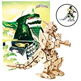 Mighty Morphin Power Rangers Dragonzord Poster and 3D Wood Model Figure Kit - Build, Paint and Collect Your Own Wooden Toy Model - Green Ranger - for Kids and Adults,12+ - 5' h