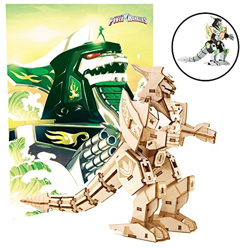 Mighty Morphin Power Rangers Dragonzord Poster and 3D Wood Model Figure Kit - Build, Paint and Collect Your Own Wooden Model - Green Ranger - Great for Kids and Adults,12+ -