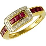 Ivy Gems 9ct Yellow Gold Ruby and Diamond Buckle Ring