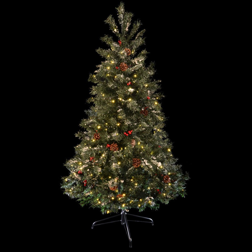 6ft 183cm Green Decorated Prelit Artificial Festive Christmas ...