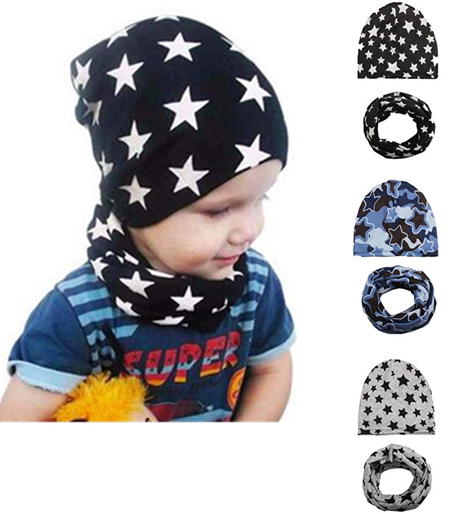 Baby Boy's Knit Beanie Hats Toddlers Star Caps Kids Cool Soft Hats for 3 Pack Wellwear