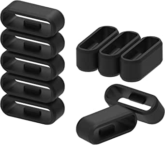Chofit 18mm/20mm/22mm/24mm/26mm/28mm Rubber Fastener Rings Silicone Watch Bands Wristband Fastener Free Loops Keepers 11 Pcs Black Watch Band Fasteners