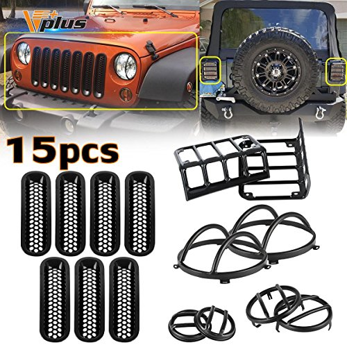 Vplus (15pcs) Black Headlight Guard Covers & Tail Light Mounting Brackets & Side Fender Front Turn Signal Protectors & Front Grille Insert Jeep Wrangler JK TJ 2007-2016