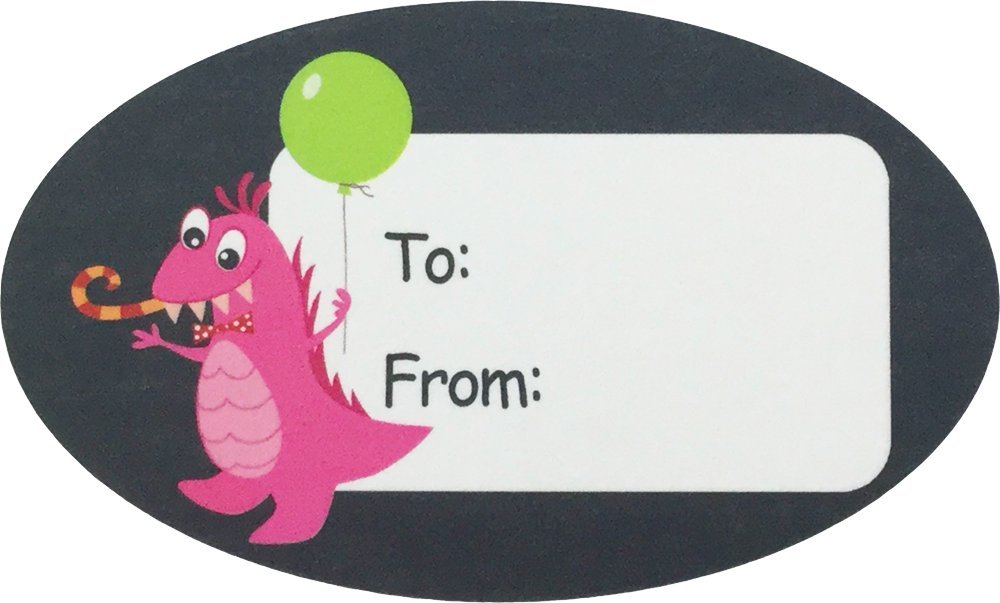Monster Birthday Gift Tag Stickers 1 1/2 x 2 1/2 Inch 100 Adhesive Labels by InStockLabels.com (Image #7)