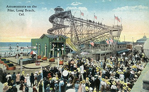Long Beach, California - View of Amusement Rides along the Pike 34699 (12x18 SIGNED Print Master Art Print - Wall Decor ()