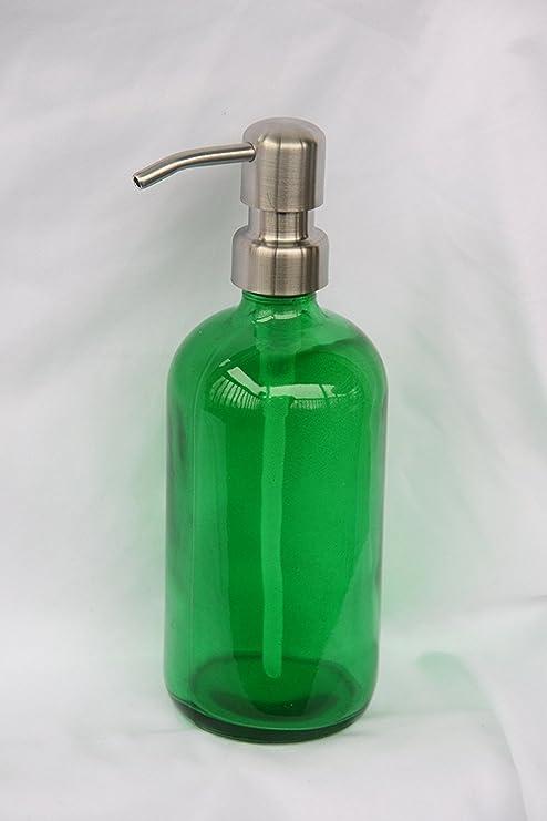 Dispensador de jabón de cristal verde con bomba de aire de metal inoxidable – Verde –