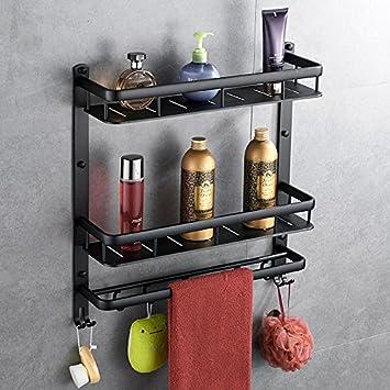 Toallero espacio negro estante de aluminio baño colgar en la pared accesorios de baño colgante de