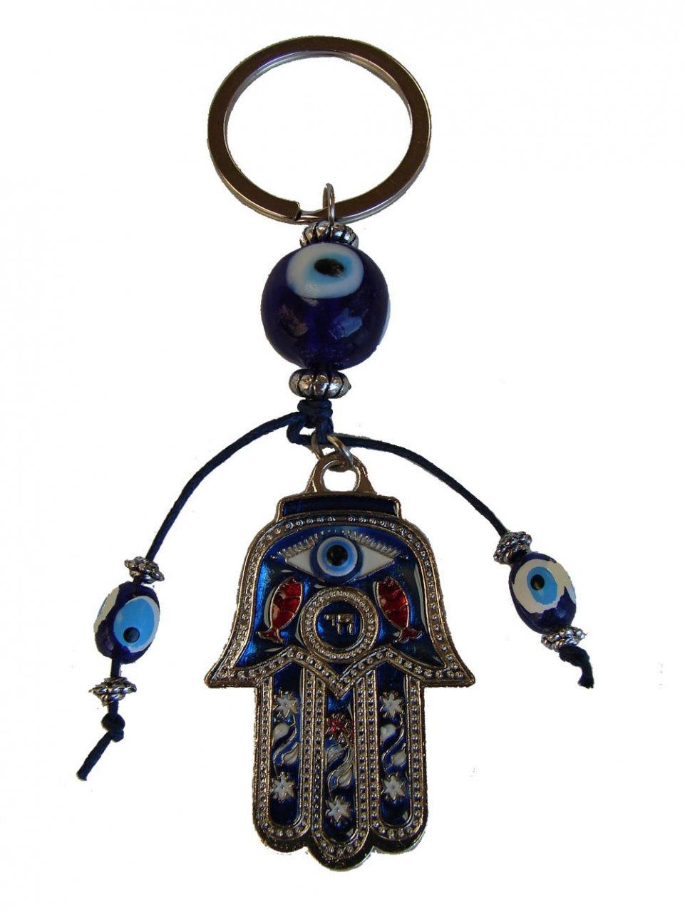 Amazon.com: Hamsa Mano con azul Evil Eyes Protección Llavero ...