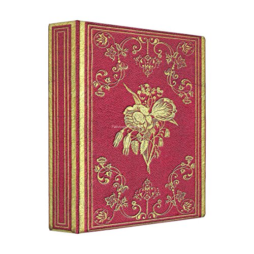 Three Ring Binder, Antique Style Wine and Roses Book, 4 Sizes Available (Large, Black Interior)