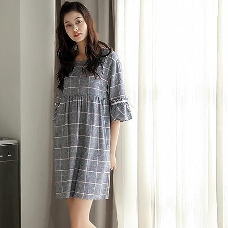 Pijamas de Camisón de Manga Corta de algodón Dulce Lindo Largo ...