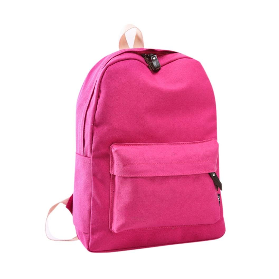 AutumnFall 2017 New Fashion Women Canvas Backpack Girls Preppy Bookbags Travel Bag (Hot Pink)