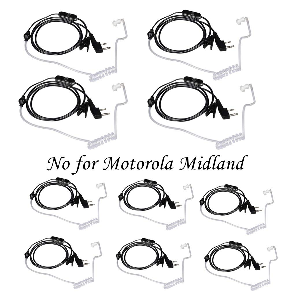 Walkie Talkies Earpieces (10 Packs) for Baofeng UV-5R BF-888S Retevis H-777 Kenwood PUXING with 2 Pins Acoustic Tube Headset with Mic