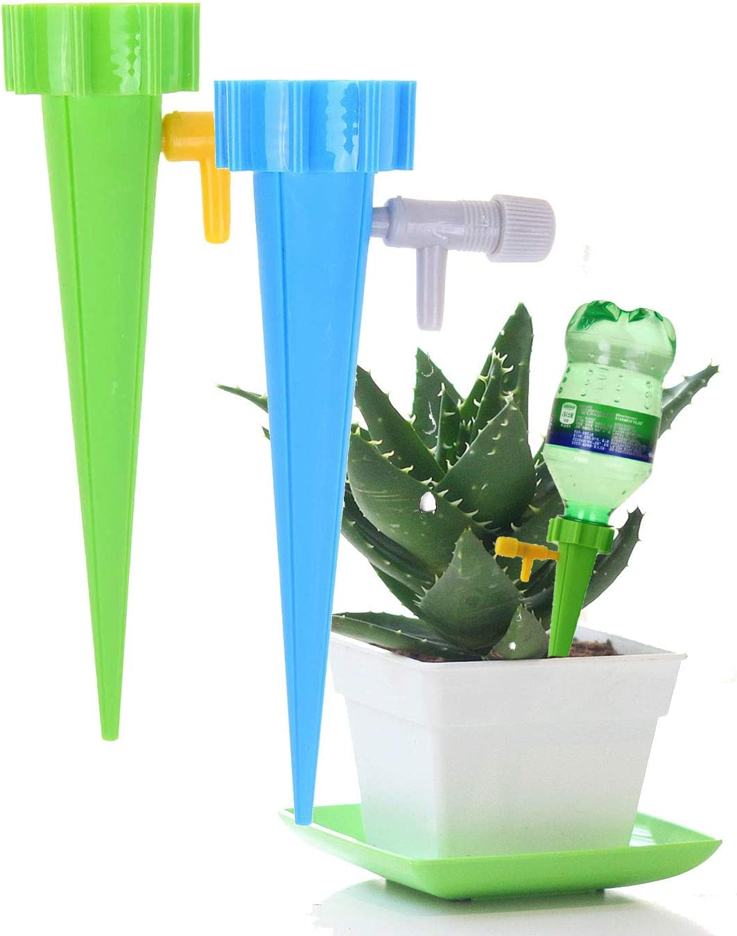 12 PCS Self Watering Spikes,V-Resourcing Adjustable Water Volume Drip System,Automatic Watering Devices with Control Valve Switch for Garden Plants Indoor & Outdoor