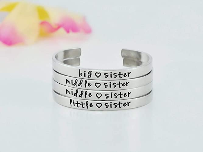 20629bb4c57 Image Unavailable. Image not available for. Color: Big Middle Little Sister  - Hand Stamped Aluminum Cuff Bracelet Set ...