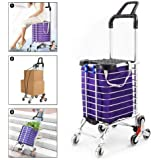 Besthls Folding Shopping Cart for Groceries, Stair Climbing Grocery Carts with Cover (Can Sit), Heavy Duty Transit Utility Cart with Rolling Swivel Wheels and Length Handle, 177 Pounds Capacity