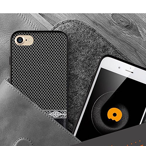 WUW Seamless Grid Leather Coated PC TPU Hybrid Tasche Hüllen Schutzhülle - Case für iPhone 7 Plus 5.5 Built-in Magnetic Holder Metal Sheet - schwarz