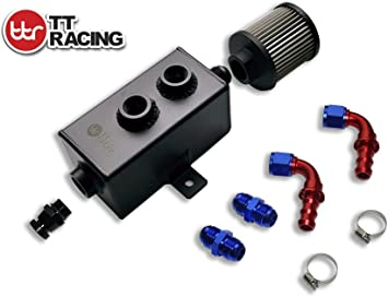 SQUARE STYLE 1L OIL CATCH CAN TANK KIT AN10 BAFFLED  W// FITTINGS FUEL HOSE