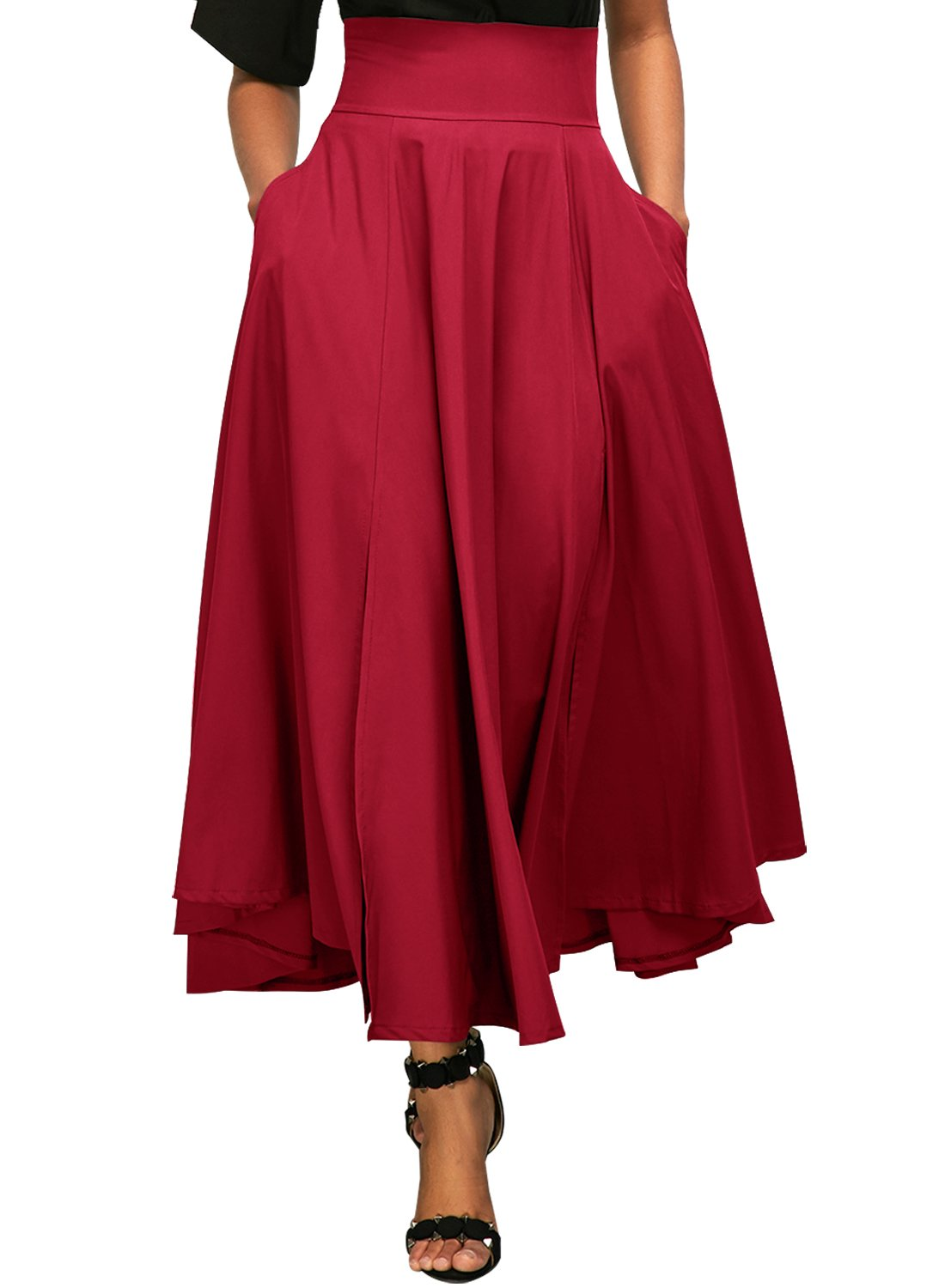 Lovezesent Women's High Waist A-Line Pleated Midi Skirt Dresses ZST65003