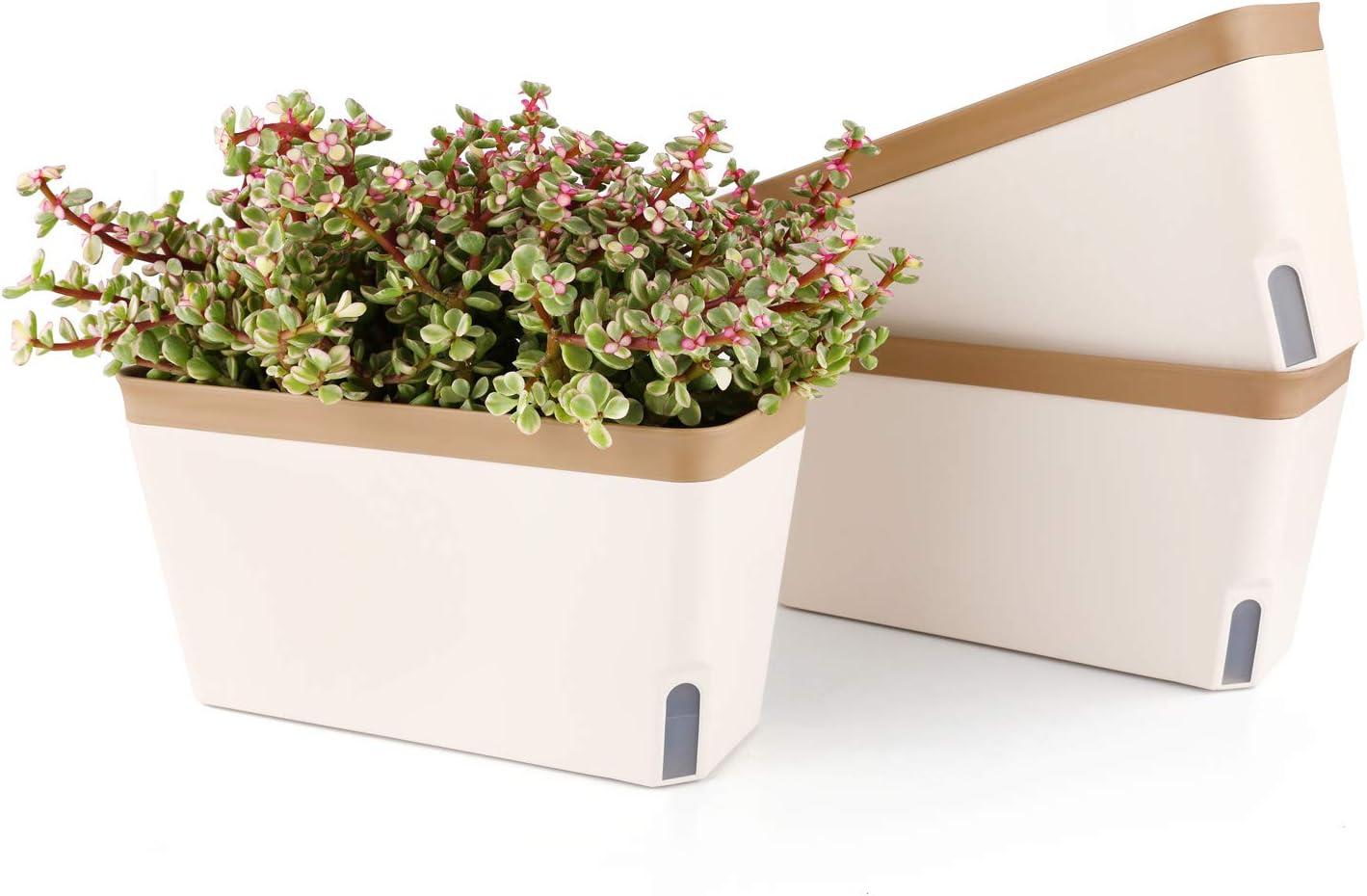 T4U Jardinera de Riego Automático Maceta Rectángulo 27CM Conjunto de 3, Maceta de Plástico con Ventana de Nivel de Agua Visual Jardín Decorativo Maceta de Bonsai para Plantas de Interior