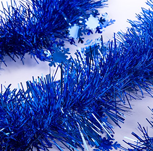 Blue Tinsel Christmas Tree - SANNO Christmas Tinsel Garland Snowflake Sparkly Hanging Xmas Christmas Tree Ceiling Decorations Classic Party Ornaments Each, 3 Pcs 8.2 Ft (2.5M) x 4 inch wide, Blue