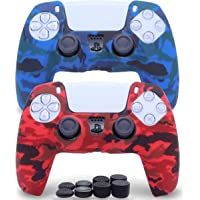 2 Pack Silicone Controller Skins Camo Anti-Slip Cover Case Protector Sleeve for Playstation 5 /PS5 Controller with 8 x…