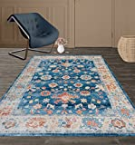 Rugshop Traditional Oriental Vintage Soft Silky Area Rug, 4' x 6', Blue/Beige