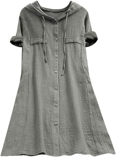 TUDUZ Blusas Mujer Manga Corta Verano Algodón Camisas con Capucha Camisetas Botón Bolsillo Tops Tamaño más