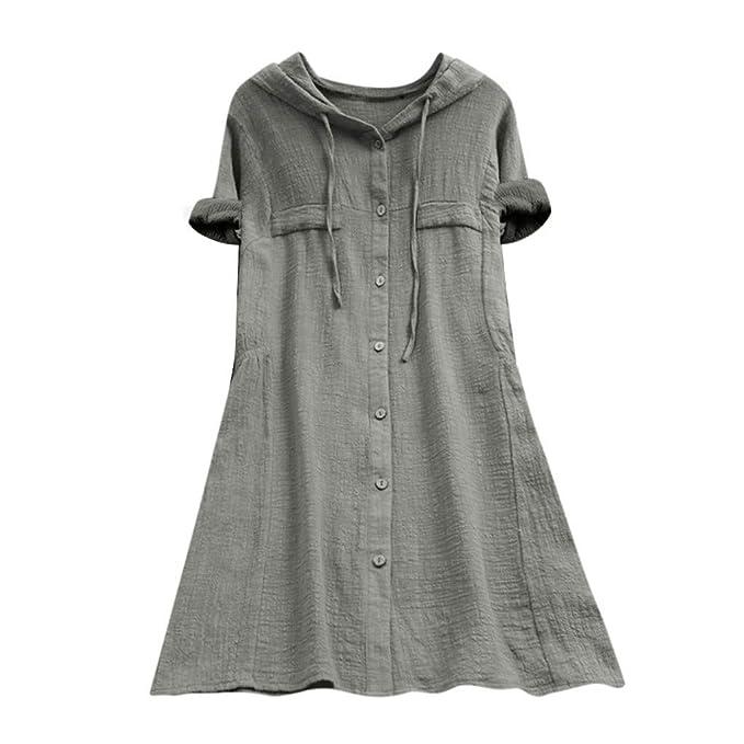 Moda Camiseta Mujer Manga Corta Verano Botón Casual para Mujer ...