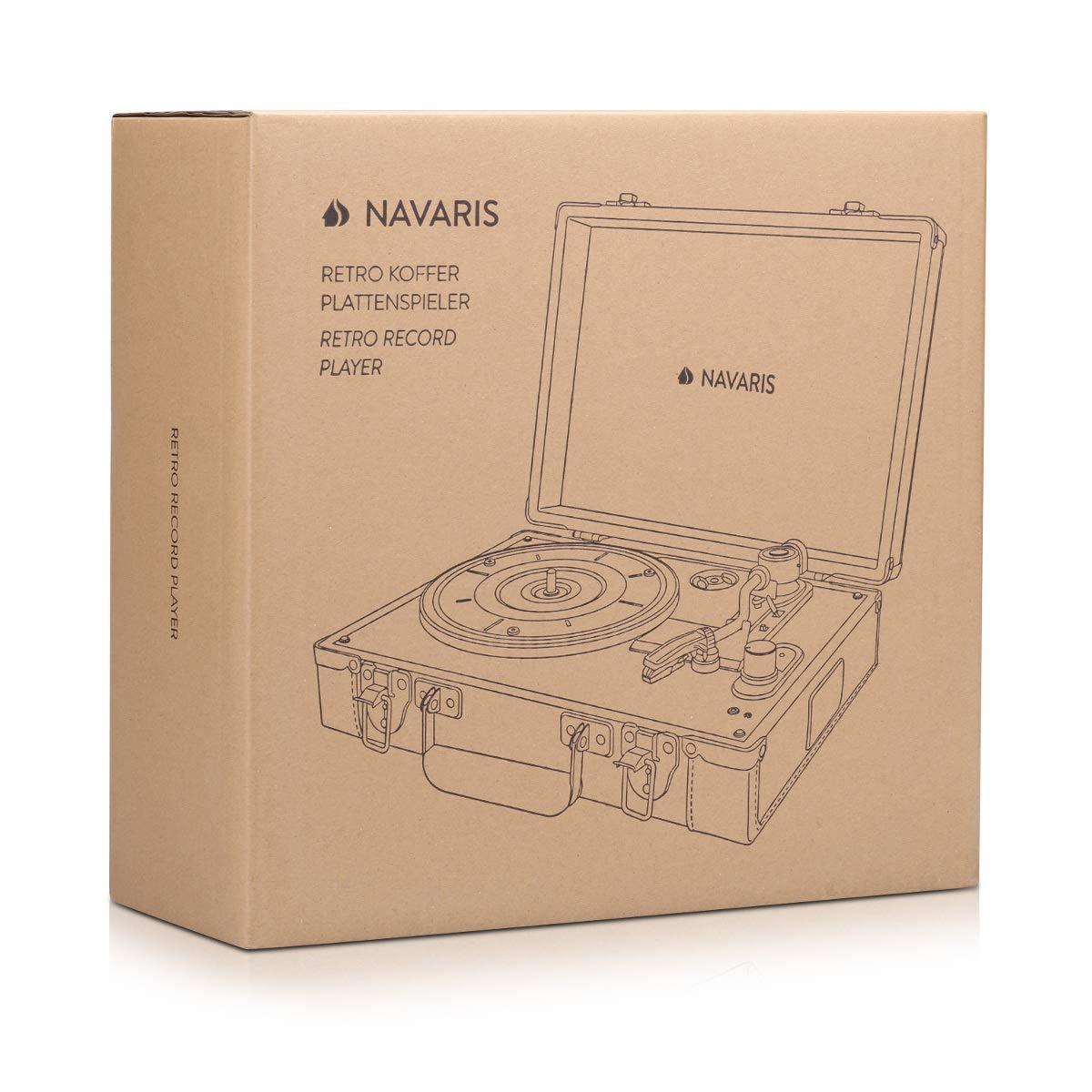 Navaris Tocadiscos Retro con Forma de Maleta - Giradiscos con Altavoces y grabación MP3 - Tornamesa con Puerto USB - Piel sintética Vintage