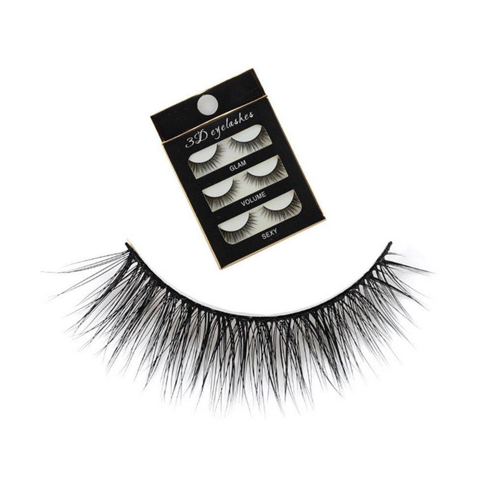 DDGE DMMS Pack of 3 Pairs Black 3D Handmade Natural Long False Eyelashes Eye Lashes Makeup