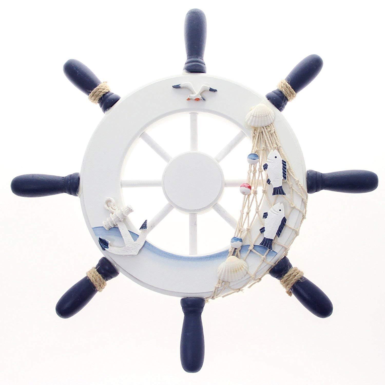 QQA Nautical Wooden Ship Wheel Boats Wall Hanging Decorative Boat Accessory Bedroom/Kids Room/Bathroom/Guest Room