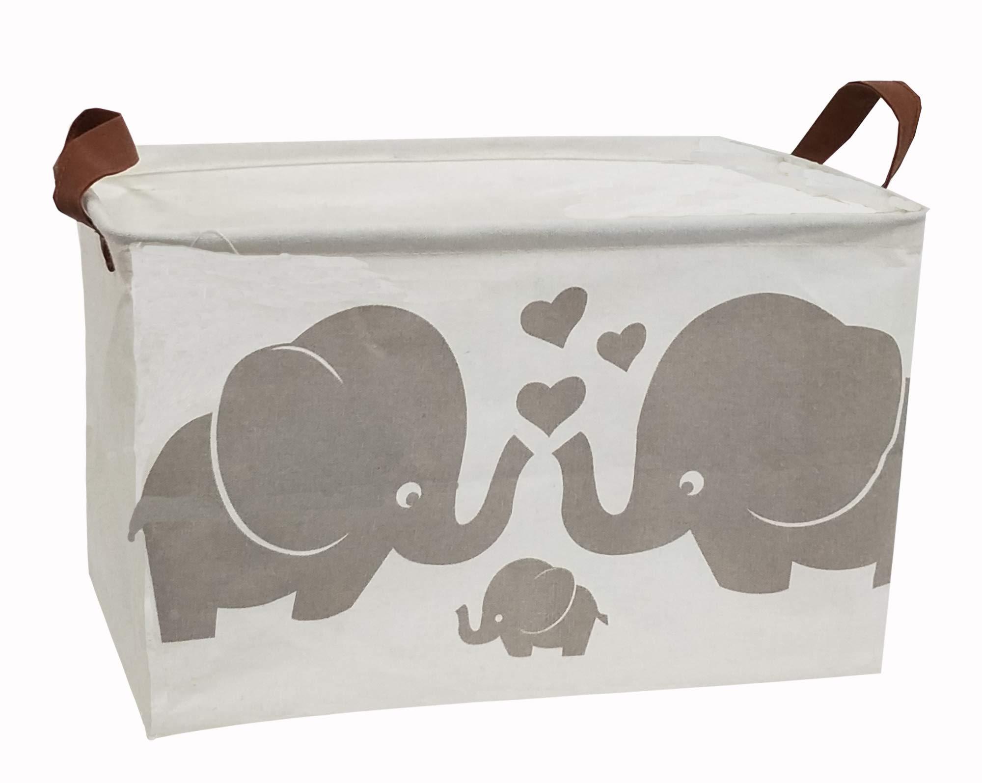 HOUSESTORAGE Laundry Hamper Storage Bin Baskets Foldable Nursery Laundry Basket for Organizing Office//Bedroom//Closet//Shelf Baskets//Storage Hamper Parent-Child Elephant