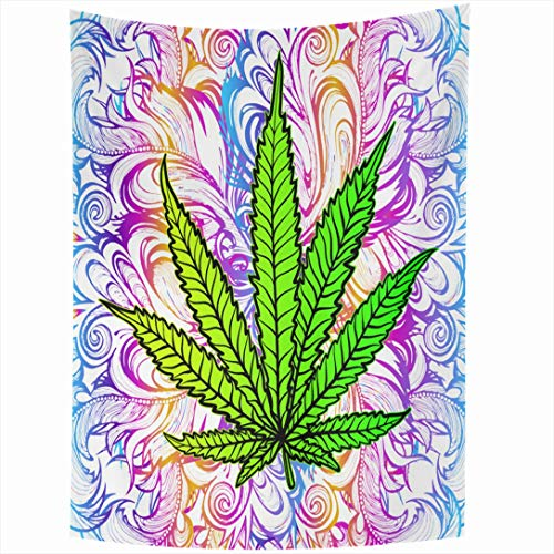 Ahawoso Tapestry 60x80 Inch Green 60S Joy Leaf Impact Herb Weed Trippy Addiction Legal Medication Smoke Banned Blessedness Bliss Creativity Tapestries Wall Hanging Home Decor Living Room Bedroom Dorm