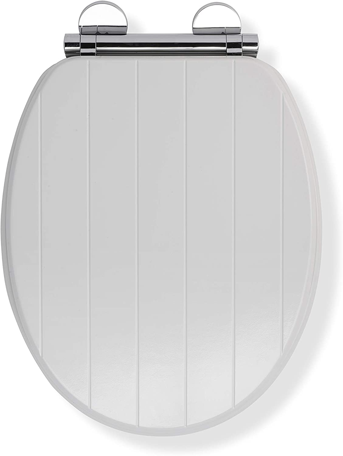 Croydex Flexi-Fix Portland Always Fits Never Slips Slow Close Anti Bacterial Toilet Seat, Wood, White, 45.5 x 37.5 x 6 cm
